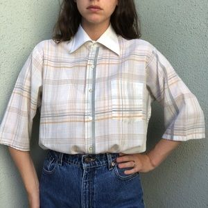 [vintage] 70s paper thin dagger collar plaid shirt